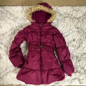 Girls belted puffer coat